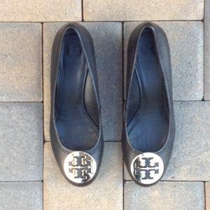 Black leather Tory Burch wedged heel